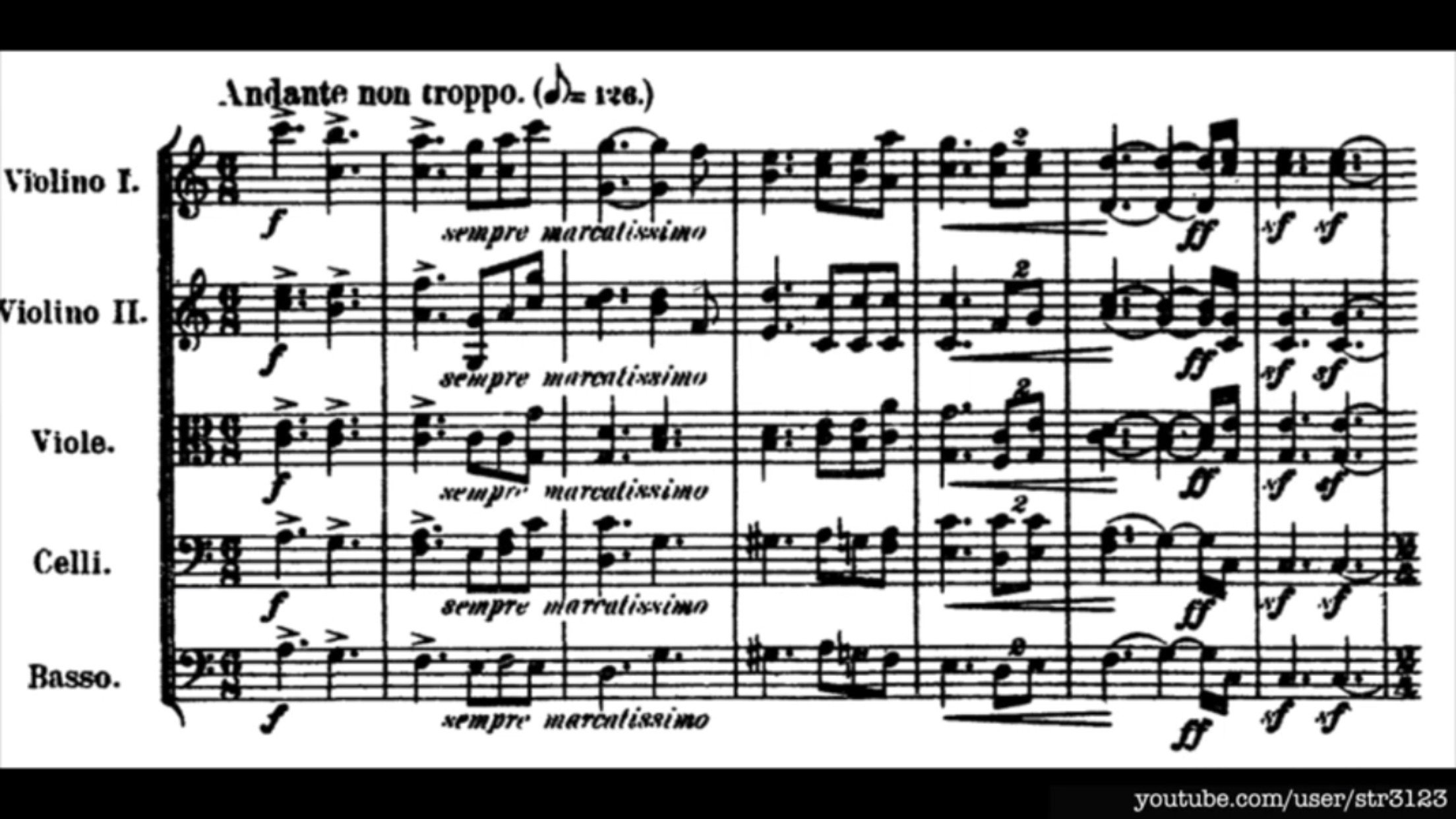 First few bars of Tchaikovsky's Serenade for Strings